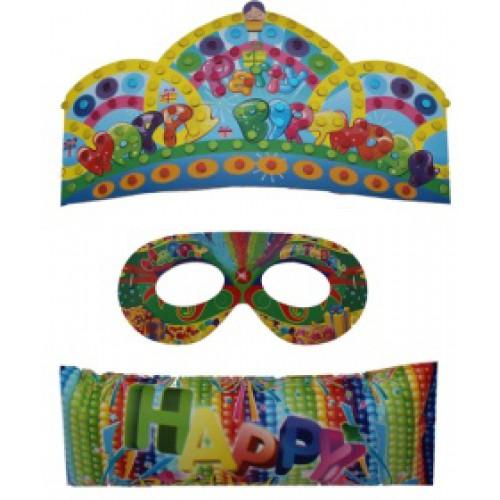 """Набор для творчества """"Укрась сам"""" (корона, маска-очки, хлопушка, стразы)"""