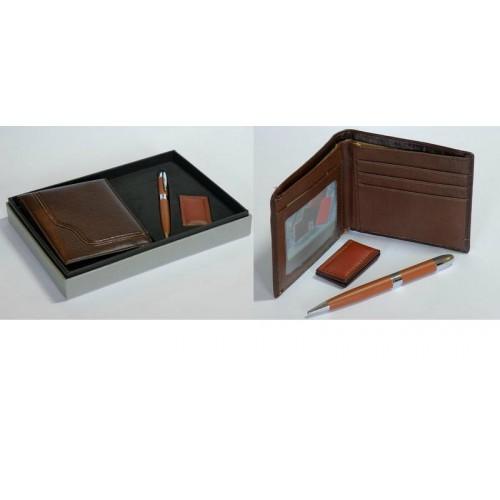 Набор подарочный мужской: портмоне+ручка+зажим для бумаг
