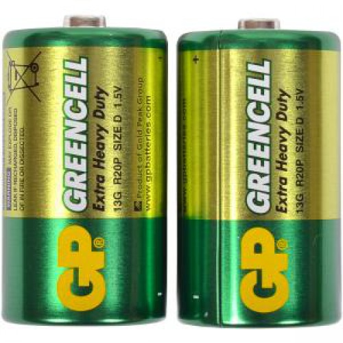 Батарейки GP 13G-S2 солевые R20, D (2шт)