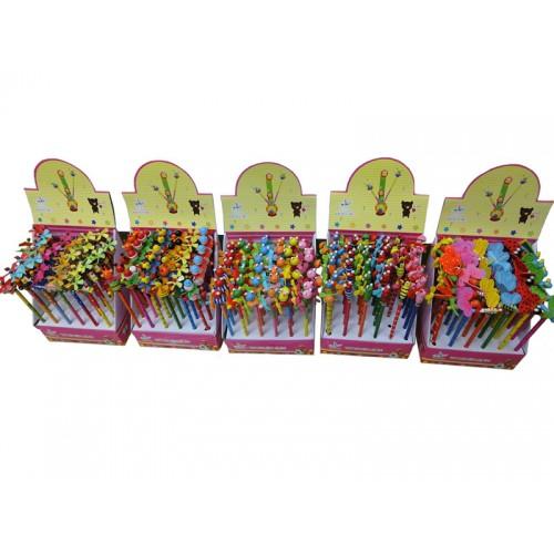 Карандаш-сувенир простой (деревянный корпус+игрушка), в ассорт