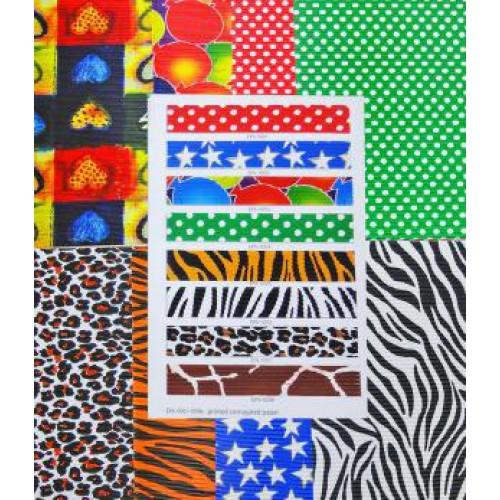 Набор гофрированной бумаги с рисунком 20*30см, 180г/м2, 8 цветов