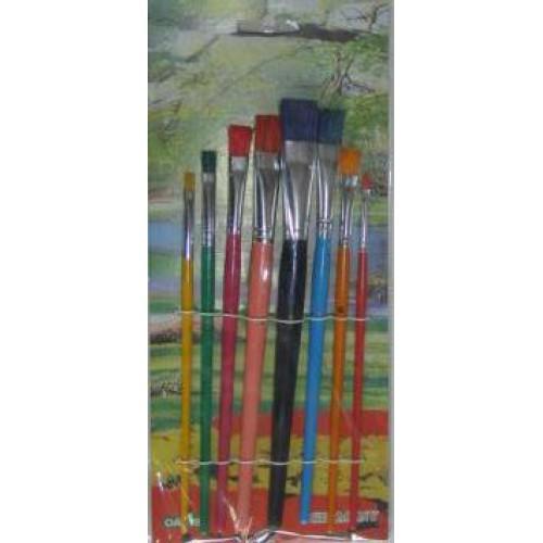 Набор кистей щетина 8шт (плоские, прямоугольные, ручка - дерево)