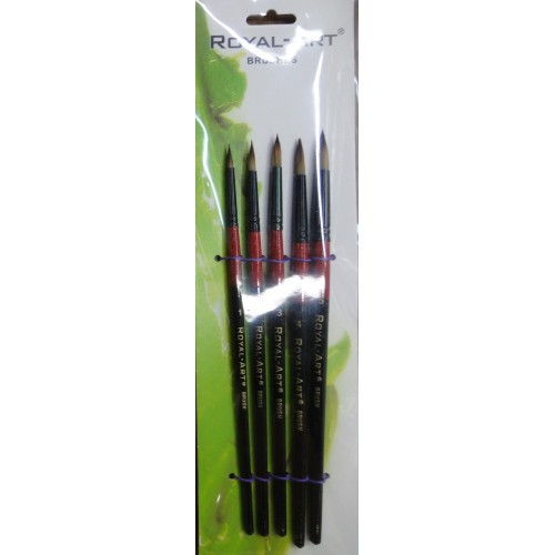 Набор кистей нейлон 5шт, круглые, ручки - дерево