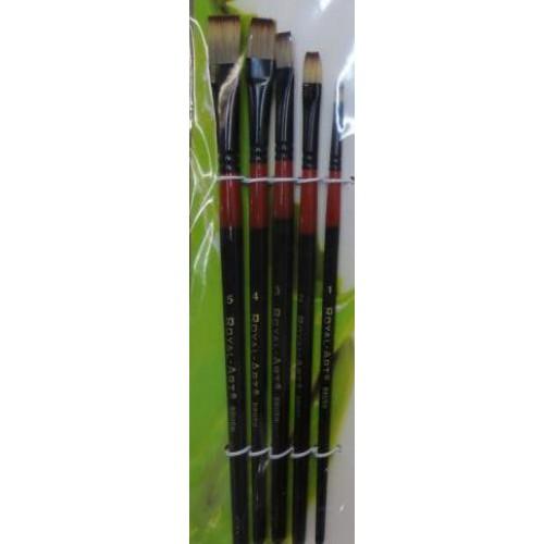 Набор кистей нейлон 5шт (плоские прямые, ручки - дерево)