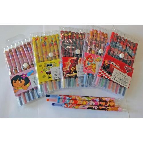 Мел-карандаш цветной восковый 12цв