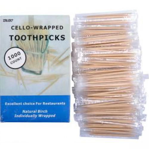 Зубочистки в целлофане, 65мм, 1000шт