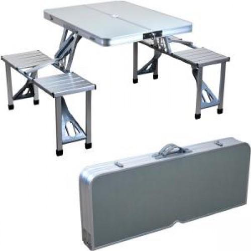 Набор мебели для отдыха в чемоданчике: стол + 4 стульчика, алюминиевый