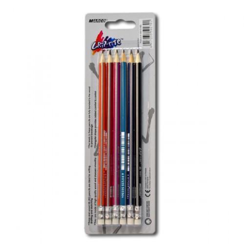 Набор простых карандашей 6шт с резинкой MARCO