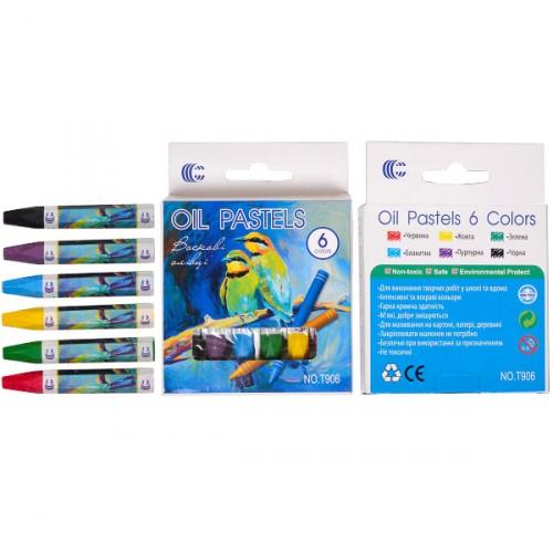 Восковые карандаши 6цв., 7,5*0,9см OIL PASTELS «С»