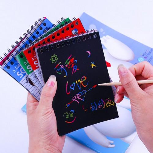 """Блокнот для гравюр А6 (10*14см) """"микс""""+дер.палоч.Scratch note, 10чёрн.л."""