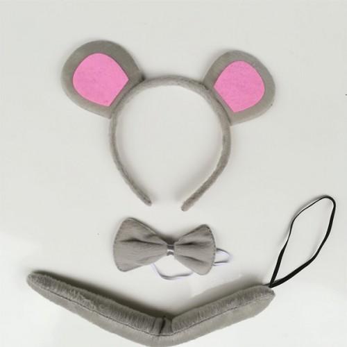 """Набор карнавальний """"Мышонок"""" (обруч с ушками + галстук-бабочка + хвостик)"""