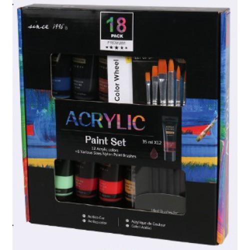 Набор подарочный на 18 предметов: краски акриловые 12цв*35мл + набор кистей 6шт нейлон
