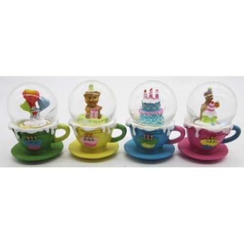 """Сувенир керамический Снежный шар """"Мишка в чашке"""" ⌀45мм"""