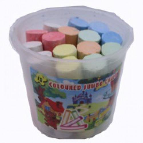 Мел цветной Jumbo 6цв=15шт в ведерке
