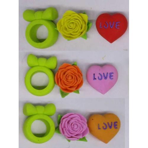 Набор ластиков 3шт: кольцо, сердце, цветок