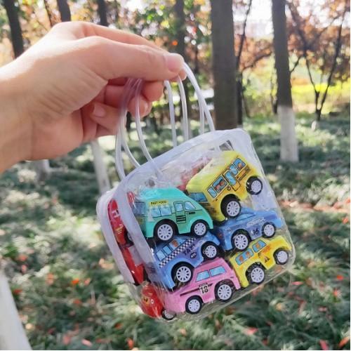 Набор мини-машинок инерционных в сумочке, пластик.