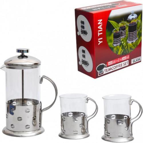 Набор Заварочный чайник (френч-пресс) 600мл + 2 чашки по 200мл