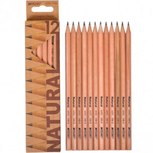Набор простых карандашей без резинки 12шт (НВ) MARCO