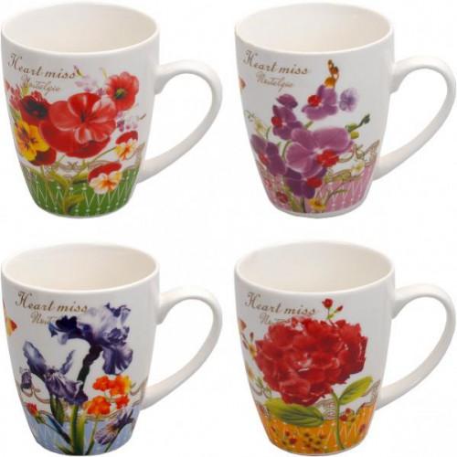 """Чашка большая """"Цветы"""" 300мл, h=10,5см, фаянс"""