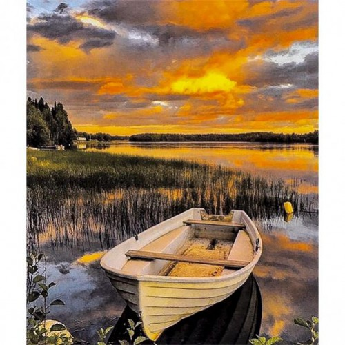 """Картина по номерам """"Закат, лодка"""" 40*50см"""