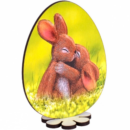 """Сувенир Крашенка на подставке «Два зайчика"""" 10см"""