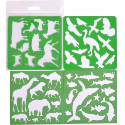 Набор из 4-х трафаретов «Животные, рыбы, птицы , 13*13см