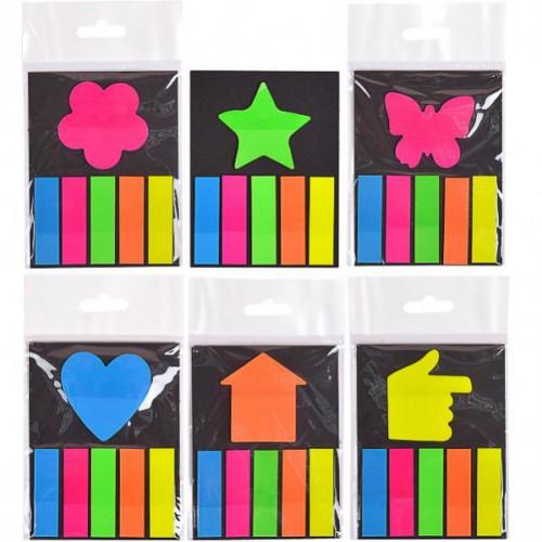 Цветные прямоугольные закладки-липучки+липучкой-закладкой в виде фигурки (лист, сердечко, цветочек), 5цв*20шт, 4,5*1,3см/4,5*4,5см
