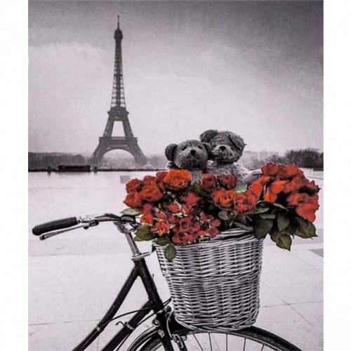 """Алмазная живопись 30*40см """"Велосипед, цветы, Эйфелева башня"""" 9+"""
