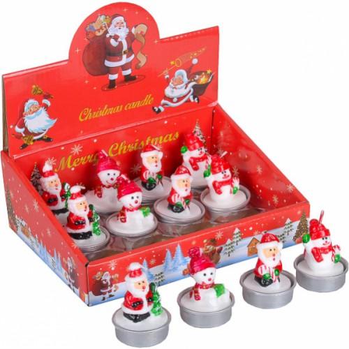 Свеча новогодняя «Дед Мороз, Снеговик» 5см