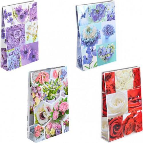 Пакет цветной большой «Яркие цветы» вертикальный 25*39*8см
