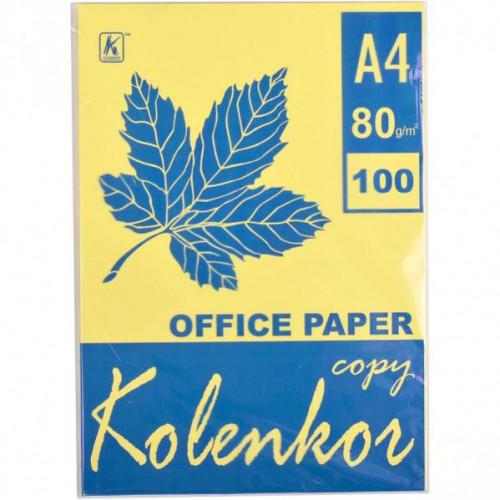 Бумага для ксерокса А4 100л, 80 г/м2 Пастель желтый