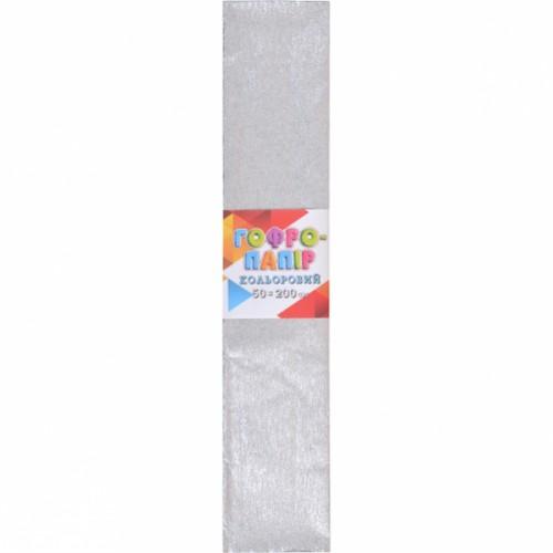 Гофрированная бумага 50*200см, серебряная, 17г/м2 20%