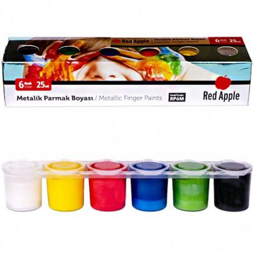 "Пальчиковые краски 6цв*25мл ""металлик"" «Red Apple» блок-тара"