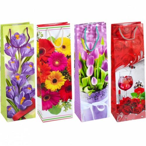 Пакет цветной «Бутылка Цветочный микс» 12*39*9см