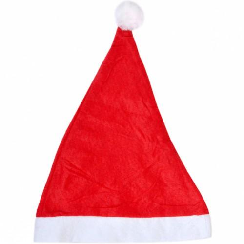 """Шапка Деда Мороза красная с белой окантовкой """"большая"""", объем 56см, высота 37см"""
