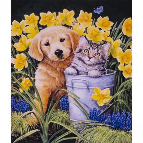 """Картина по номерам """"Щенок и котенок в ведре"""" 40*50см"""