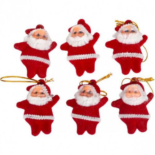 Дед мороз красный подвесной пластик. 4,5см (6шт)