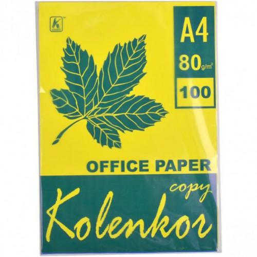 Бумага для ксерокса А4 100л, 80 г/м2 Неон желтая