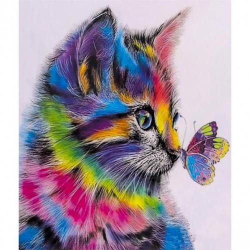 "Картина по номерам ""Котенок и бабочка"" 40*50см"