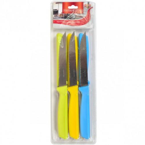 Набор цветных металлических ножей с волнистой заточкой 22см на блистере (6шт)