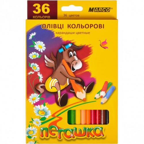 Набор цветных карандашей 36цв серия Пегашка MARCO