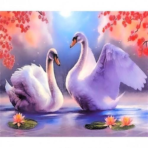 "Картина по номерам ""Пара белых лебедей"" 40*50см"