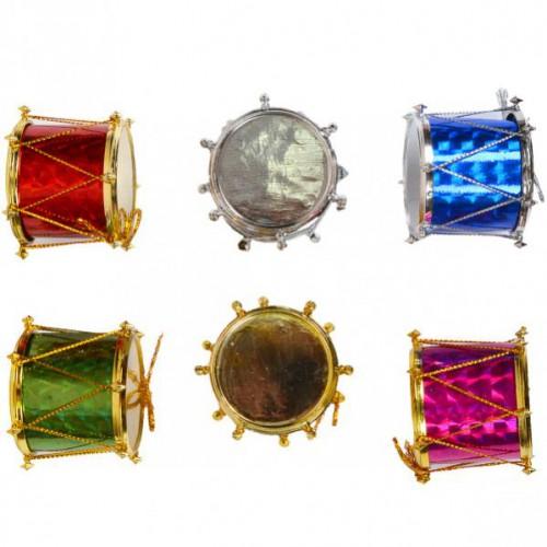 Подвесное украшение барабан цветной 4см (6шт)