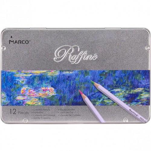 Набор цветных карандашей 12цв в метал.пенале серия Raffine MARCO