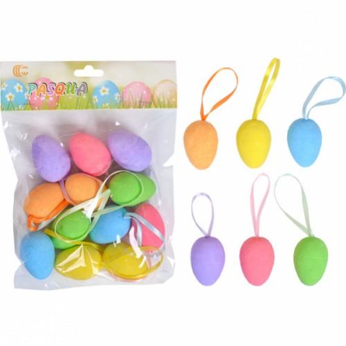 Набор Яйца декоративные 12шт цветные с ленточкой 4см