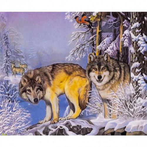 """Алмазная живопись 30*40см """"Зимний лес, волки"""" 9+"""