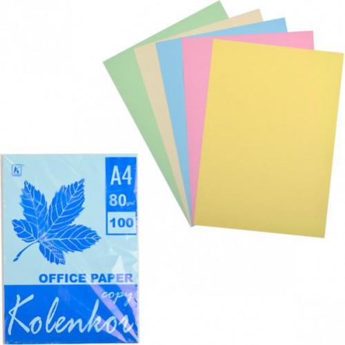 Бумага для ксерокса А4 5цв, ПАСТЕЛЬ 100л, 80г/м2