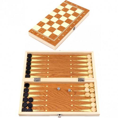 Шахматы деревянные 3 в 1 35см