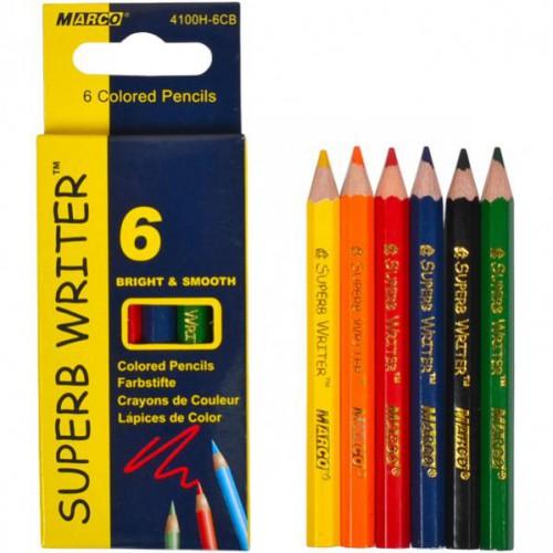 Набор цветных укороченных карандашей 6 цветов серия Superb Writer MARCO