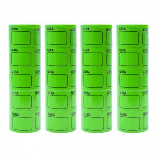 Ценник средний 2,5*3,5см «Ціна» с рамкой, зеленый (100шт)